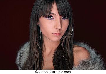 sexy, donna, giovane, ritratto