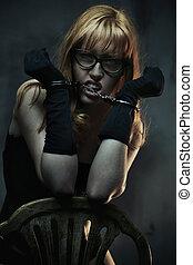 sexy, donna, in, nero, biancheria intima