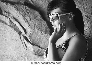 sexy, donna occhiali sole