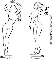 sexy, donna, silhouette