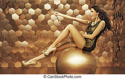 sexy, donna, su, uno, grande, palla