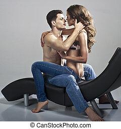 sexy, donna, uomo