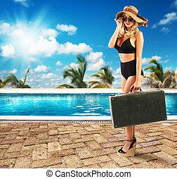 sexy, donna, vacanza