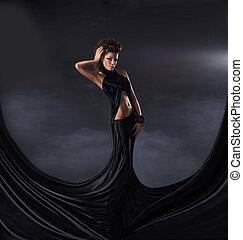 sexy, donna, vestire, nero