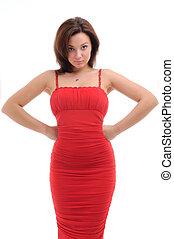 sexy, donna, vestire, rosso