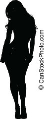 sexy, donna, vettore, silhouette, proposta