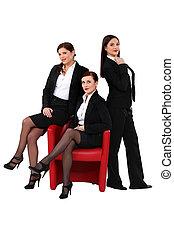 sexy, drei, geschäftsfrauen