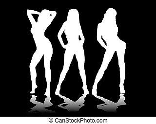 sexy, drei, schwarz