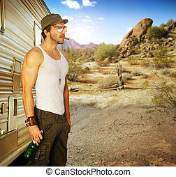 sexy dude cigar - Sexy portrait of a man standing outside RV...