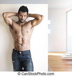 Sexy dude - Sexy fashion portrait of a hot male model in...