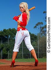 sexy, dziewczyna, baseball