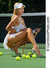 sexy, dziewczyna, tenis