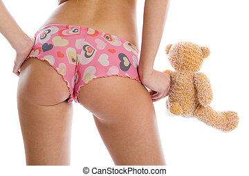 sexy, dziewczyna, zabawka, niedźwiedź