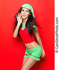 ecac82a91b8 Sexy christmas elf. Asian female waitress dressed in sexy elf costume.
