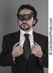 sexy, et, mystérieux, homme affaires, à, masque