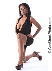 Sexy ethnic fashion model short black dress