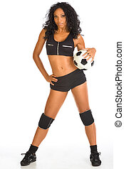 Sexy ethnic soccer player sporty female with ball