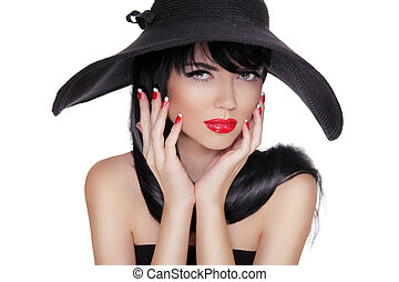 Sexy Fashion Brunette Woman Portrait in black hat isolated on White background. Makeup. Manicured nails.