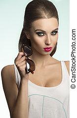 sexy fashion casual girl - close-up shoot of sexy beautiful ...