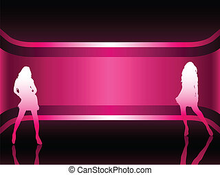 Sexy fashion girl in beautiful and colorful background. Editable Vector Image