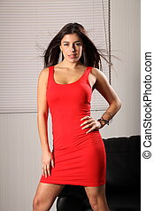 Sexy fashion girl in short red dres