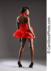 Sexy fashion model in red dress - Sexy young black fashion...