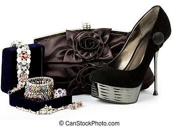 shoe, handbag with jewelry