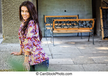 Sexy fashionable young beautiful woman outdoor
