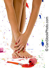 Sexy Feet and Hands - Sexy pair of feet and hands surrounded...