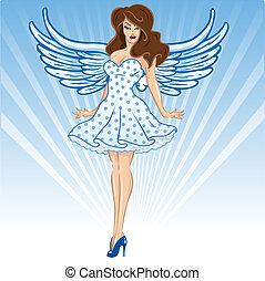 Sexy female angel or cupid figure vector illustration