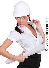 Sexy female builder