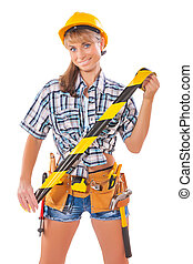sexy female construction worker holding caution tape