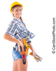 sexy female construction worker over white