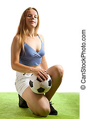 female  football player with ball