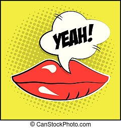 sexy female lips bubble speech pop art