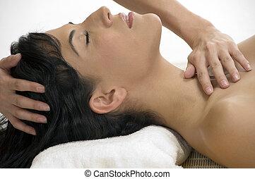 sexy female taking massage