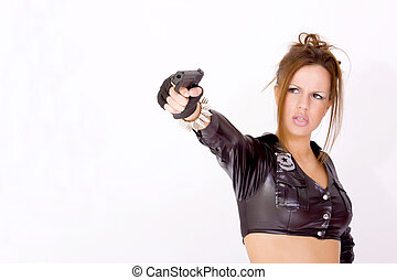 Sexy female with a gun