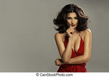 sexy, femme,  brunette, rouges,  Lingerie