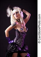 sexy, femme, burlesque, équipement