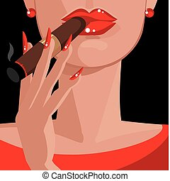 sexy, femme, dans, rouges, fumer, a, cigare