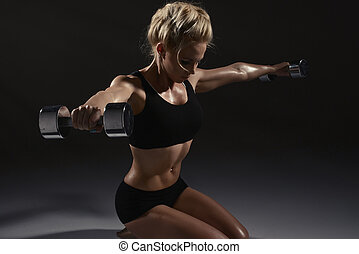 sexy, femme, dumbbells, exercice, physique