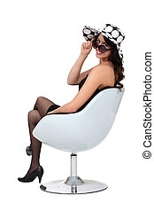 sexy, femme, fauteuil