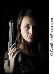 sexy, femme, fusil