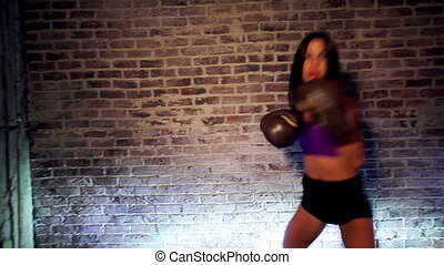 sexy, femme, jeune, boxing.