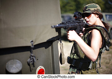 sexy, femme, militaire