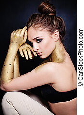 sexy, femme, mode, model., profil