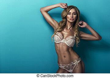 sexy, femme, porter, lingerie