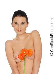 sexy, femme, topless, et, fleurs