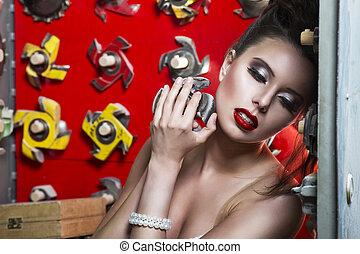 sexy, femmes, à, lèvres rouges