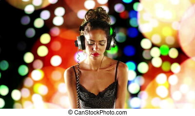 sexy, femmina, dj, ballo, e, gioco, dischi, con, astratto,...